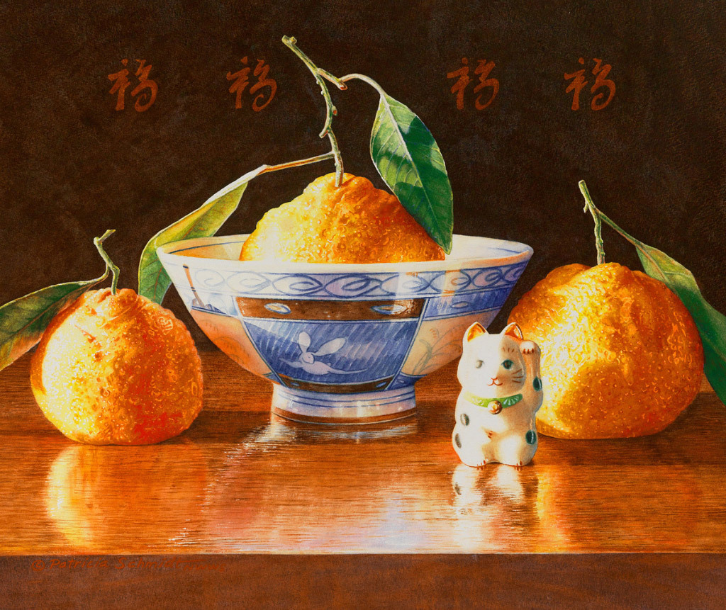 Patricia Schmidt, Mandarin Orange Blessings, water color