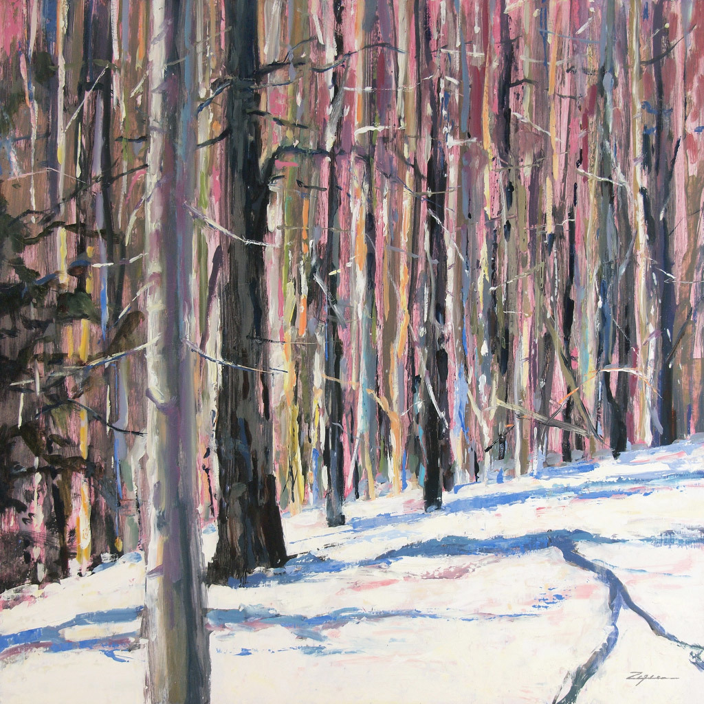 Paul Zegers, Winter Forest, oil on panel