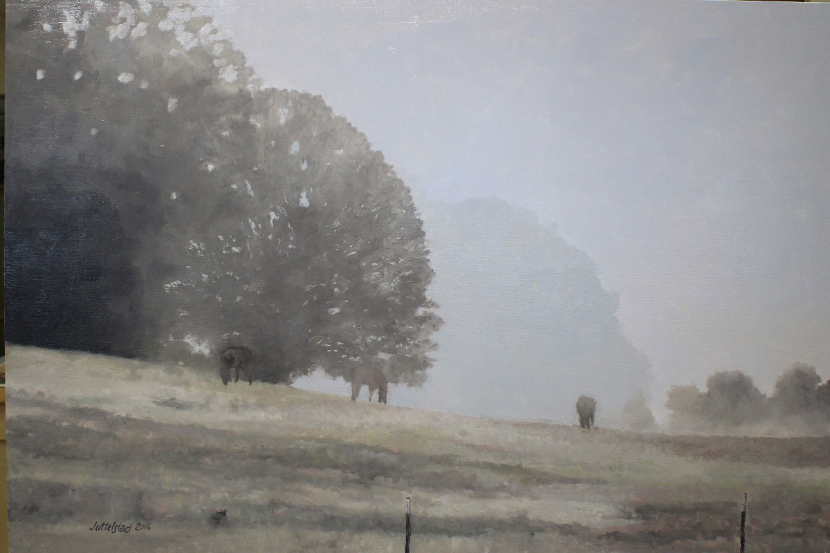 Philip Juttelstad, Foggy Horses, oil on canvas