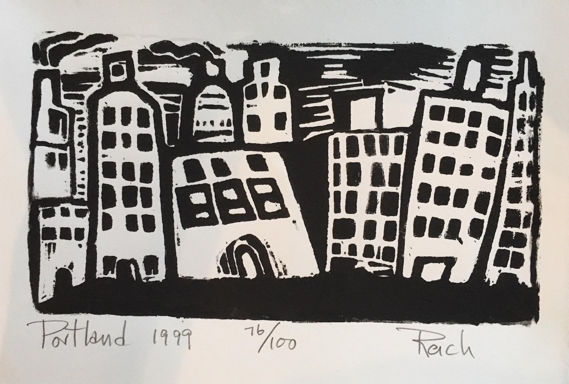 Dee Reich, Portland 1999, woodblock
