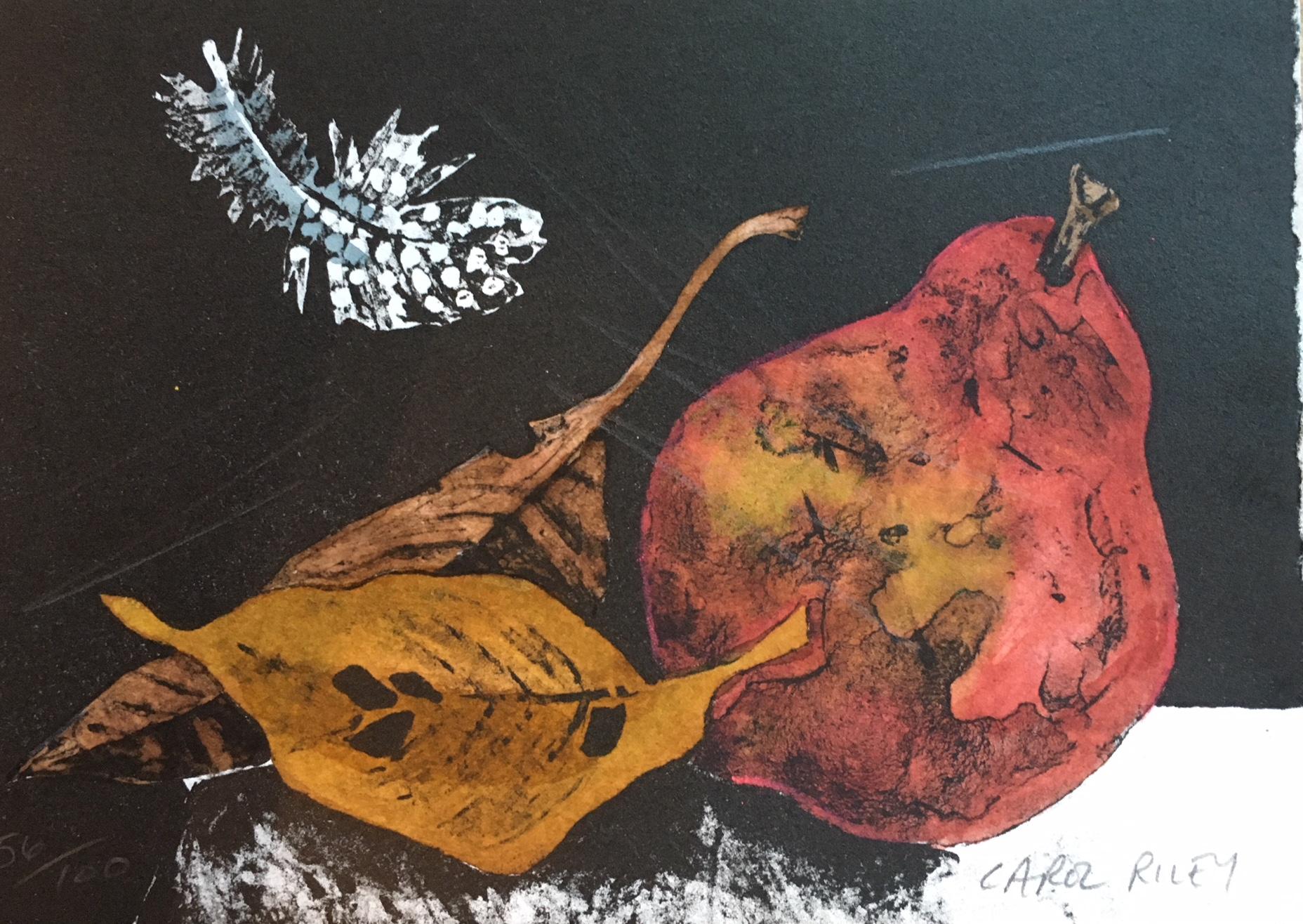 Carol Riley, Featherfall, lithograph & watercolor