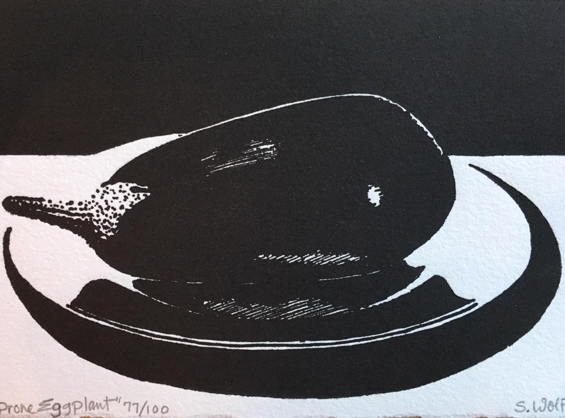 <b>Sherrie Wolf</b>,<i>Prone Eggplant</i>, relief print