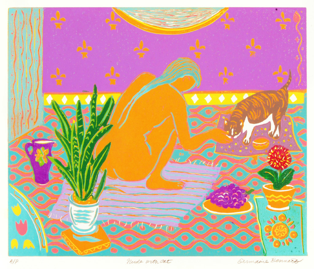 Germaine Bennett, Nude with Cat, Linocut