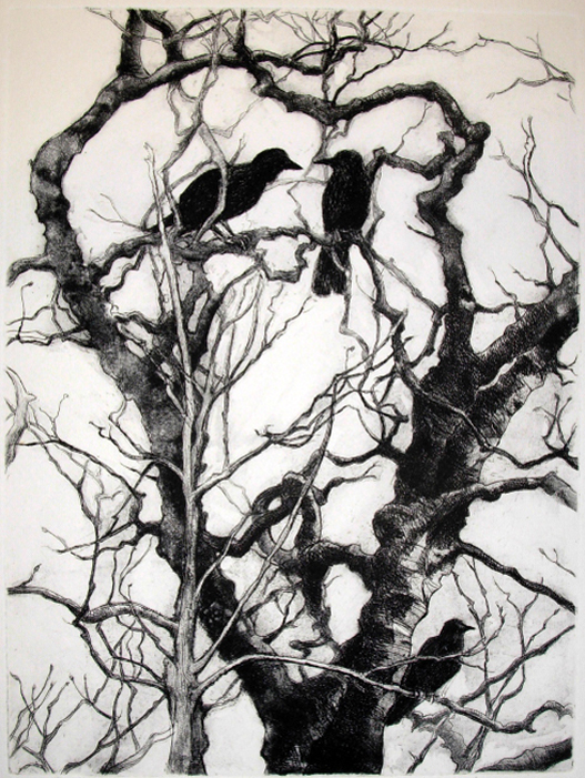 Hanne Greaver, Crows, Etching