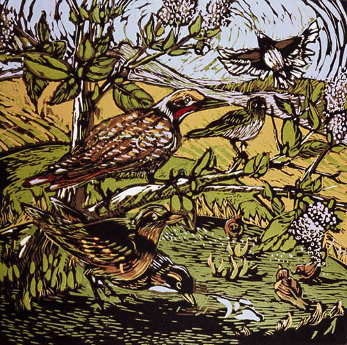 Leslie Cheney-Parr, April Visitor III, Linocut