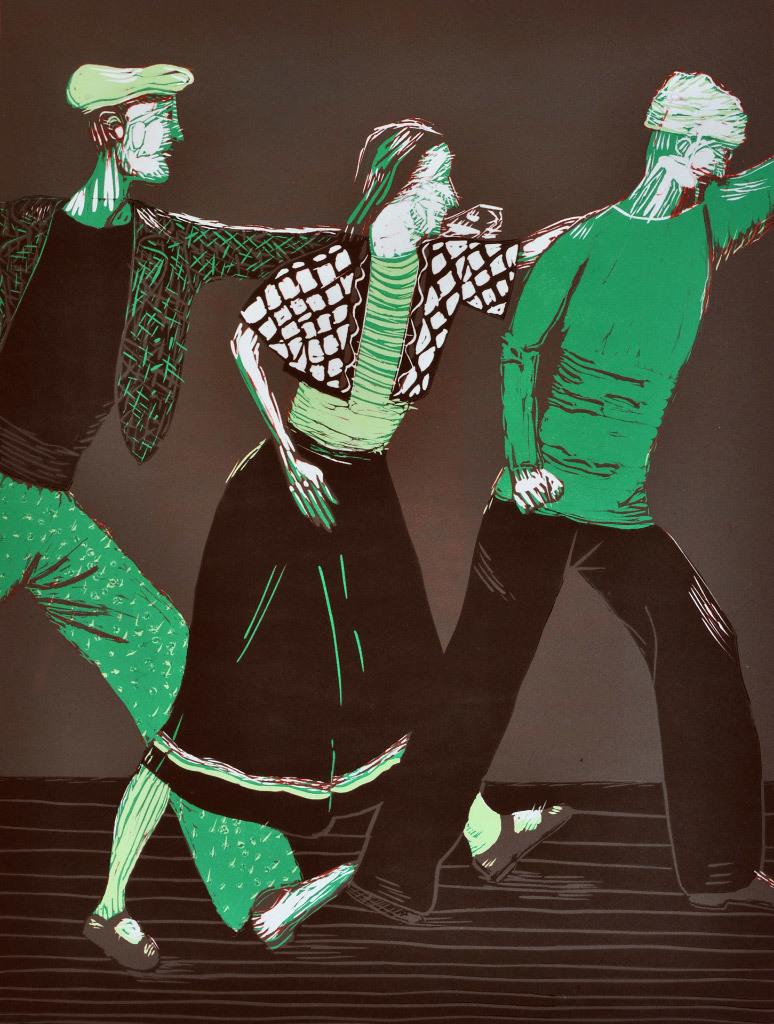 Paula Bullwinkel, Ballet Russe, Linocut