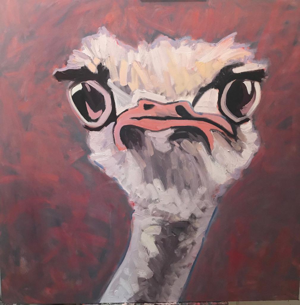 Anna Kodesch, Ostrich, oil