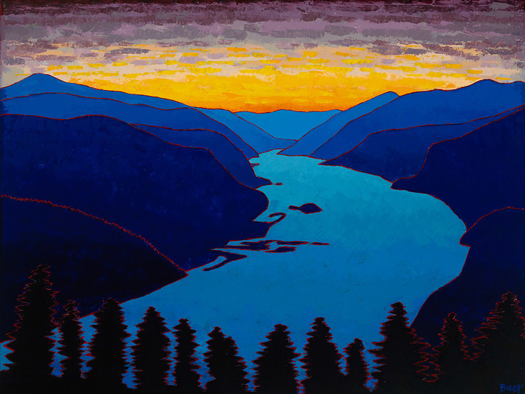 Christopher Bibby, The Columbia River Gorge, oil and wax