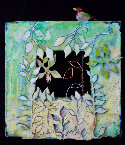 Donna Mattson, Red Headed Jungle Bird, encaustic