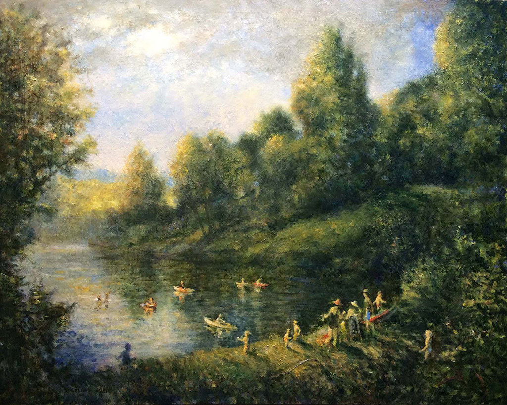 Leland John, Mothers and Children at Sauvie Island Pond, oil on linen