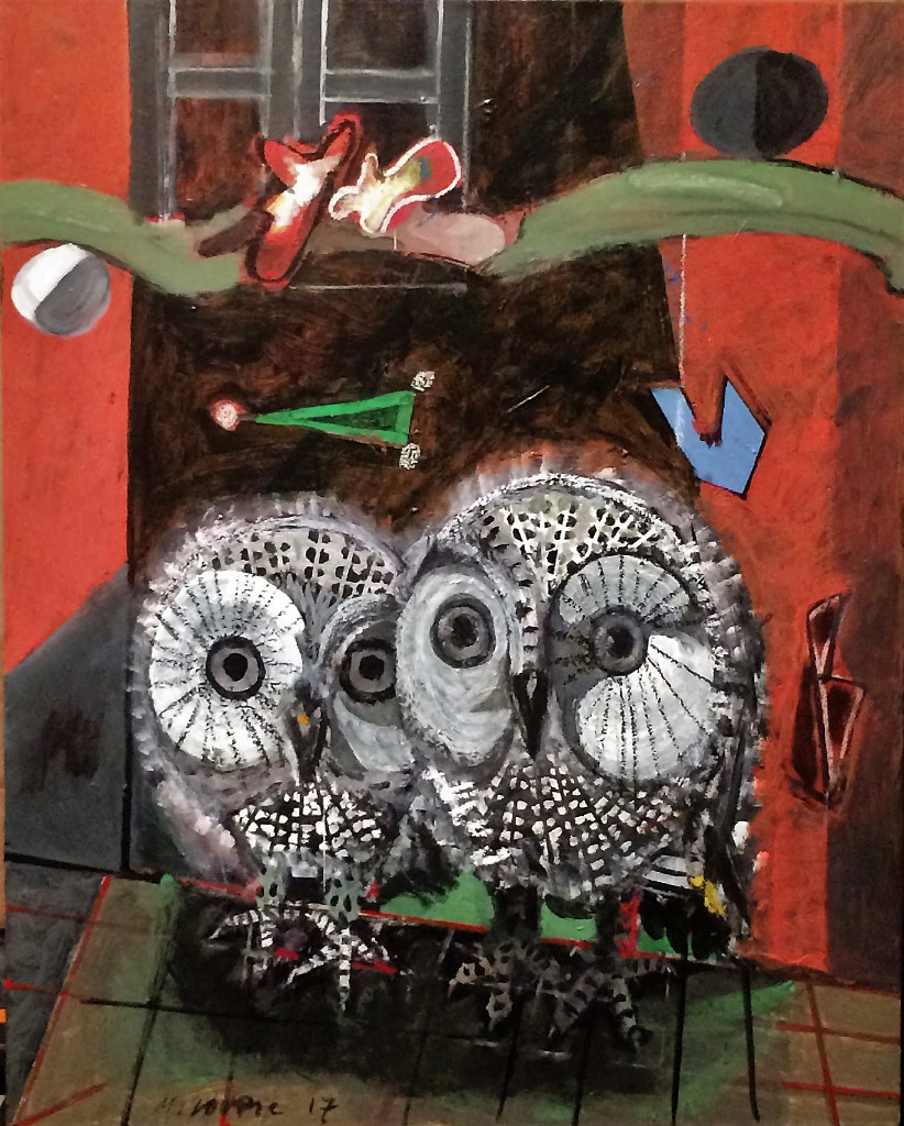 Miroslav Lovric, Owls, mixed media