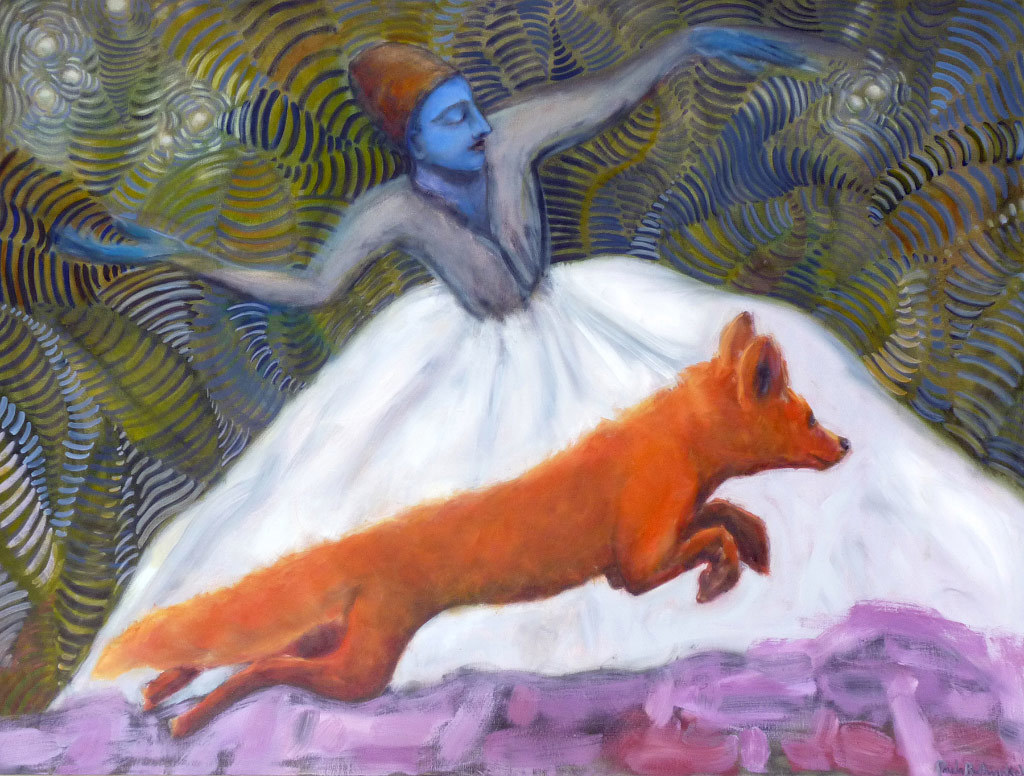 Paula Bullwinkel, Goddess and Fox, oil on canvas