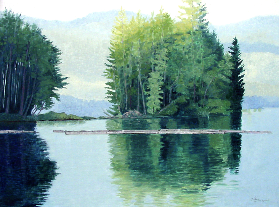Susan Comerford, Island in the Lake, oil