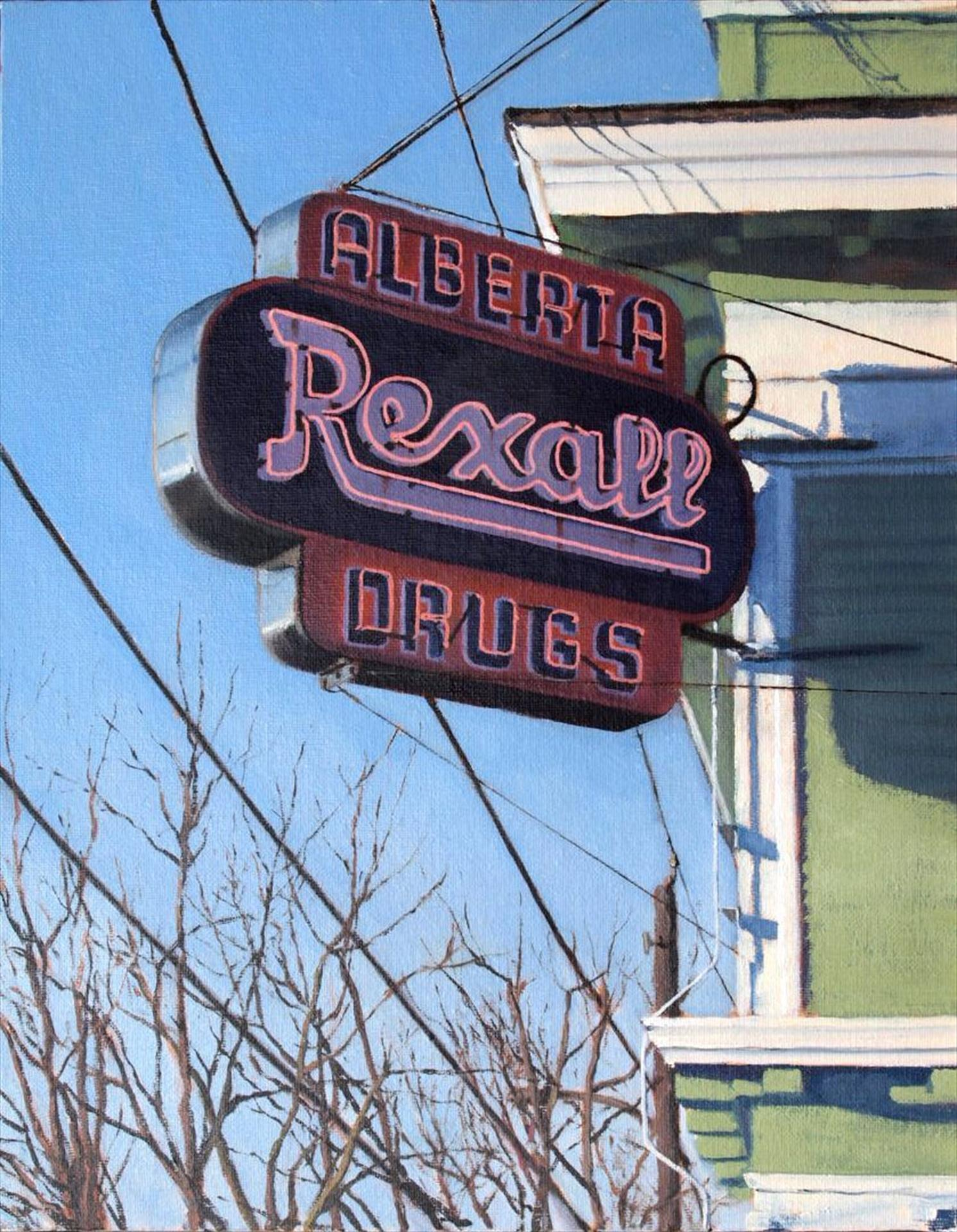 realistic painting of drug store sign