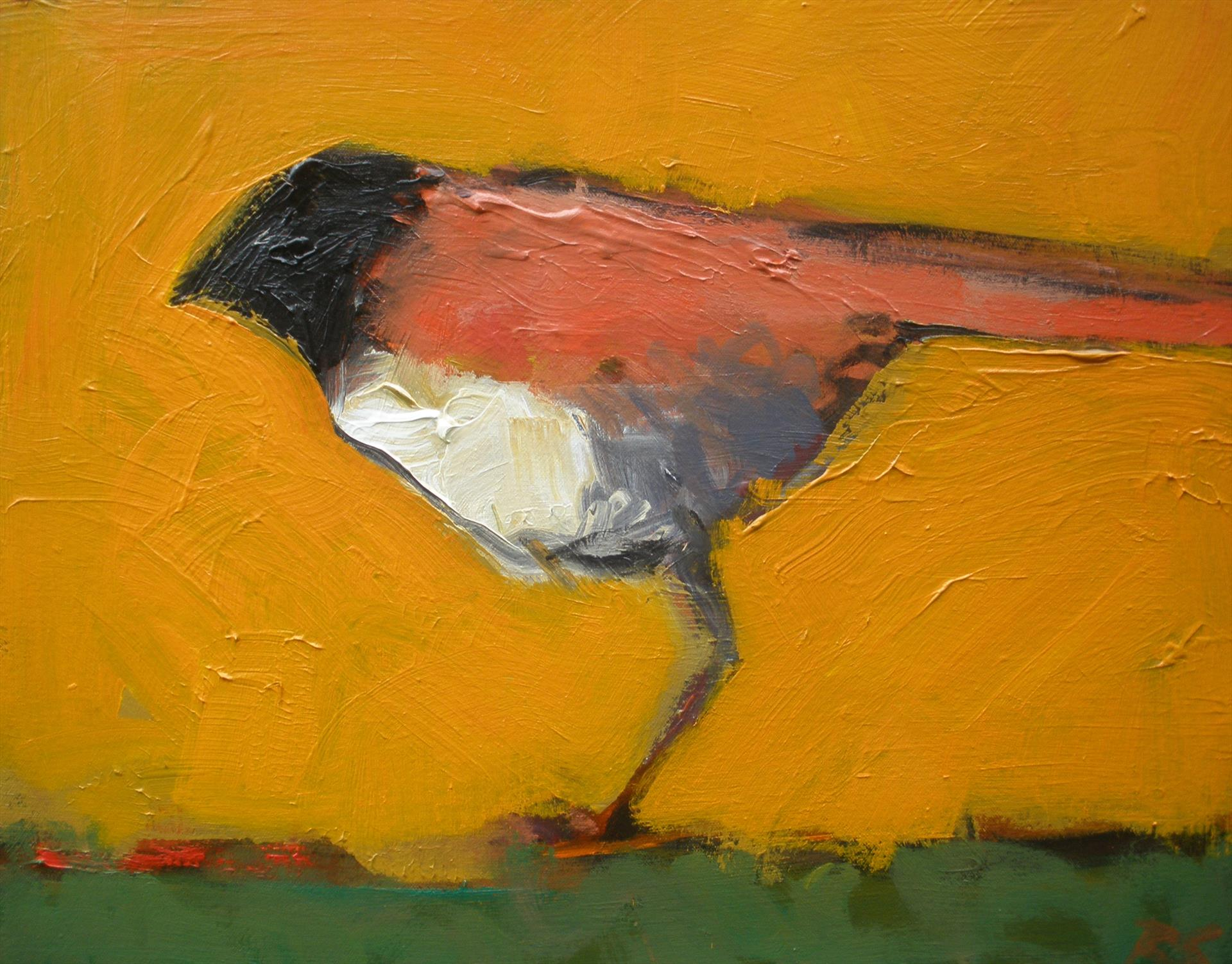 profile of a bird, bold flat colors, oranges and reds