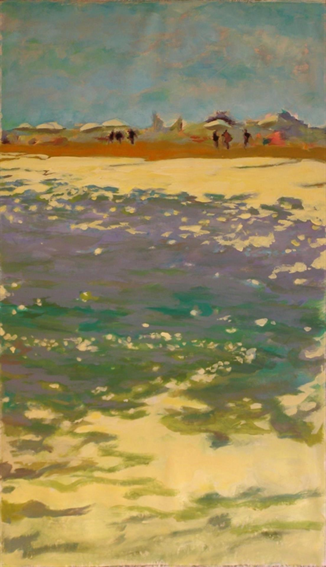 out of focus painting from ocean looking towards beach