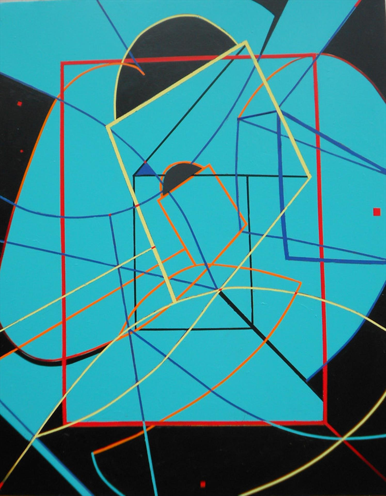 geometric painting, intersecting lines and shapes