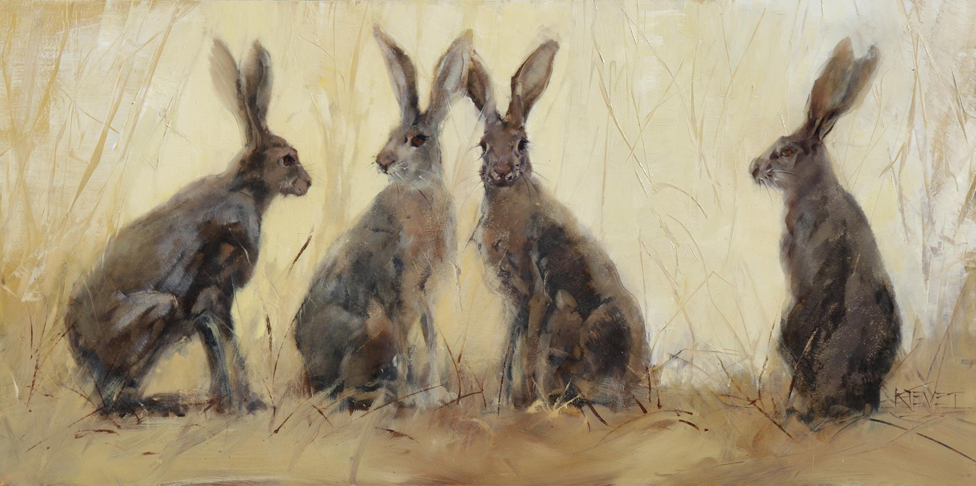 realistic painting of four rabbits