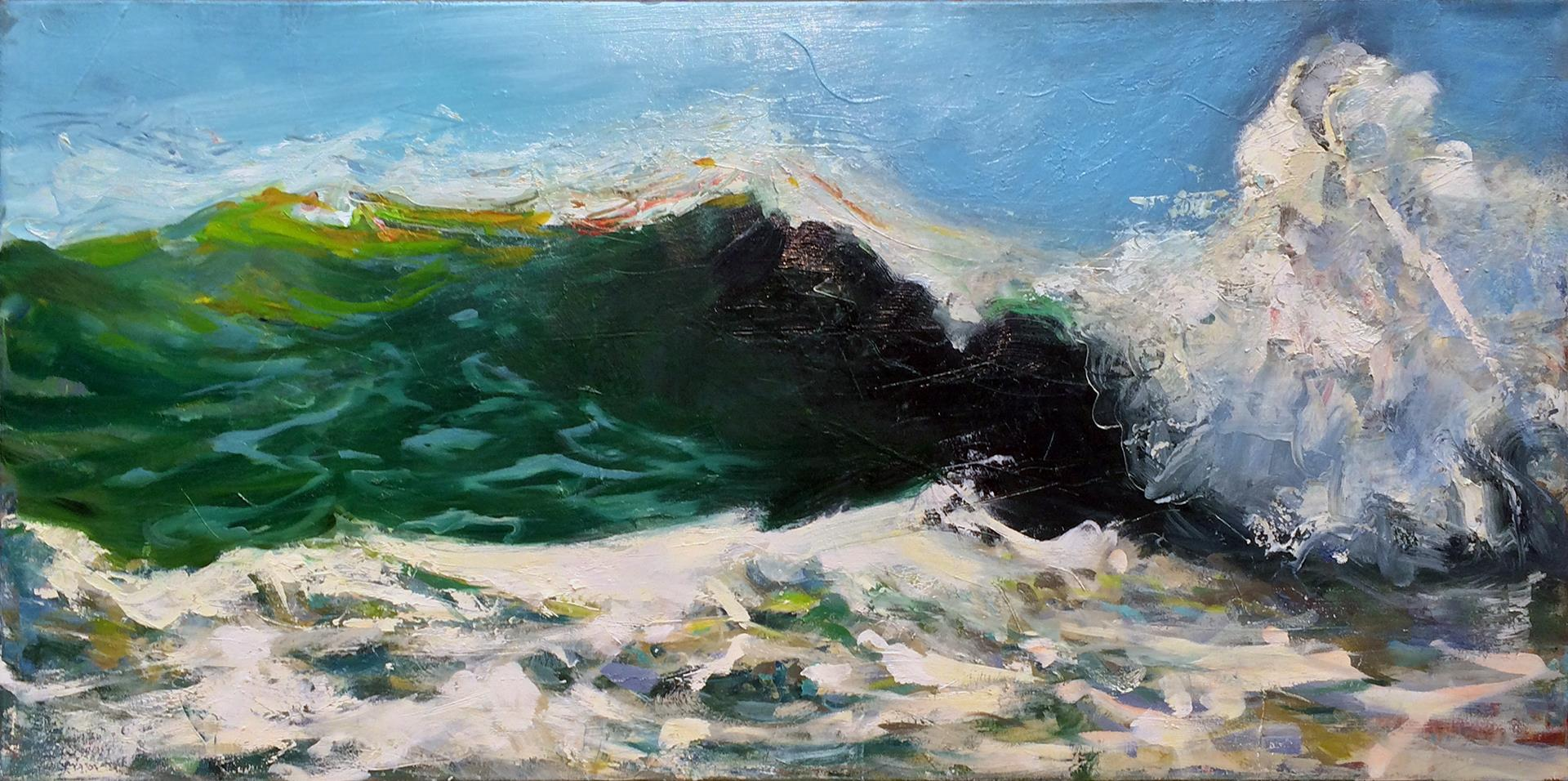 close up oil painting of surfer worthy ocean wave