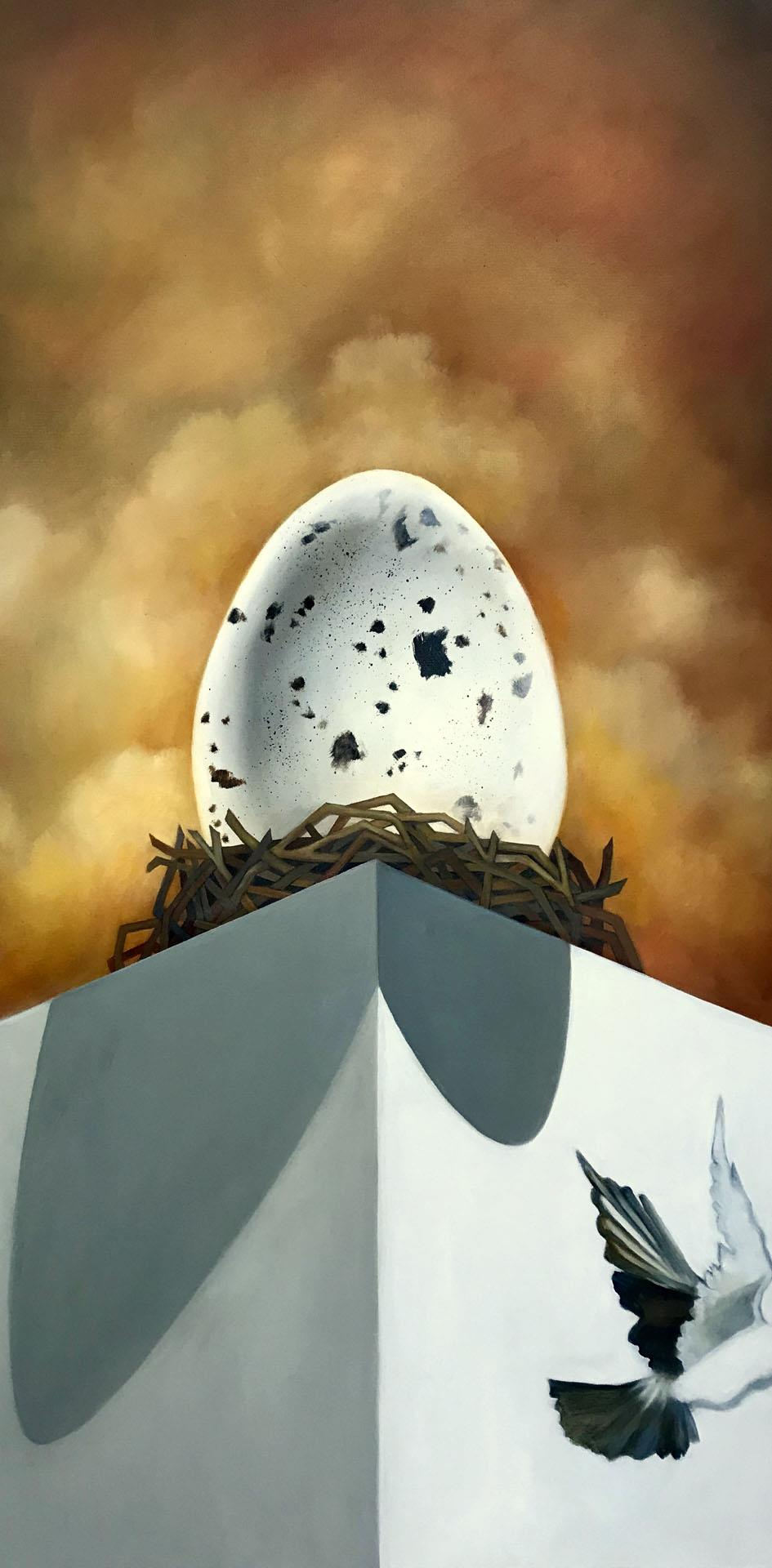 painting of large spotted egg in nest sitting on top of pedestal