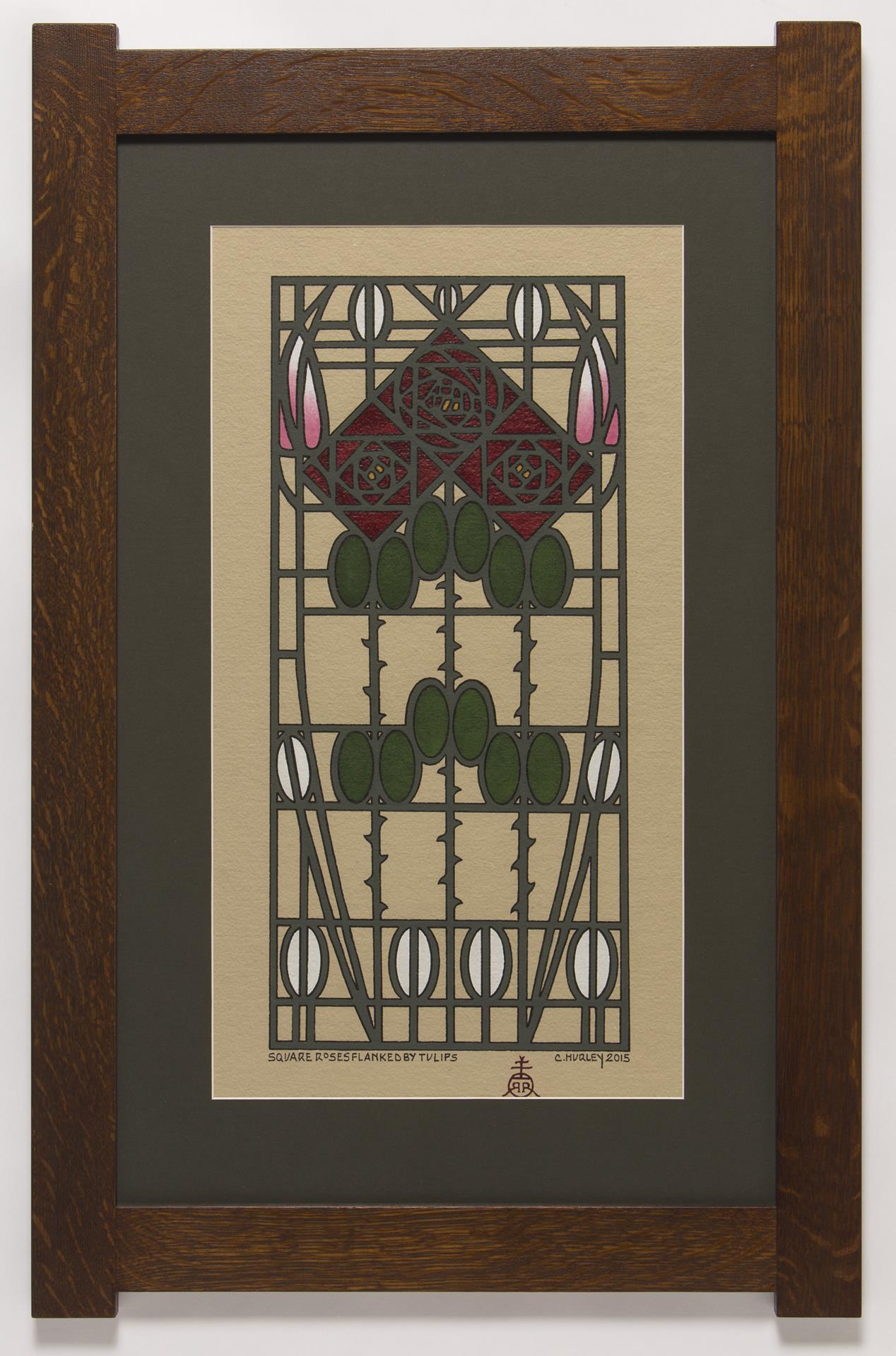 geometric roses, art deco style