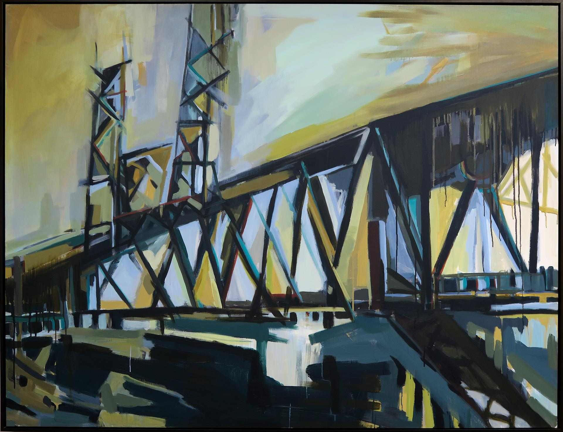 abstracted painting of the steel bridge, portland