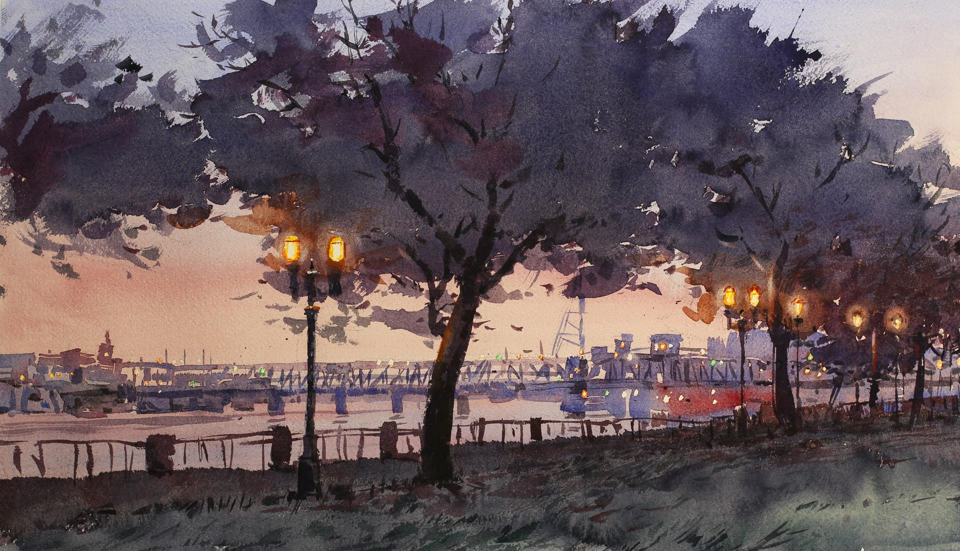 purple and pink dusk painting of waterfront with lamps