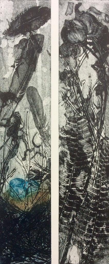 Jani Hoberg, Eggs & Peonies, etching