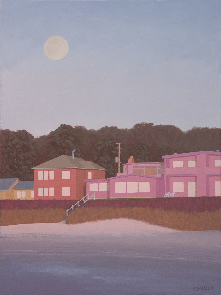 Stephen Kekule, Sunset at the Beach with a Full Moon Rising, acrylic