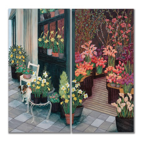 Ann Munson, Flower Shop. Paris. Diptych, mixed media