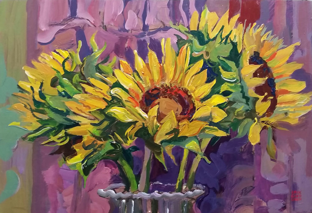 Erik Sandgren, Sunflower, acrylic on panel