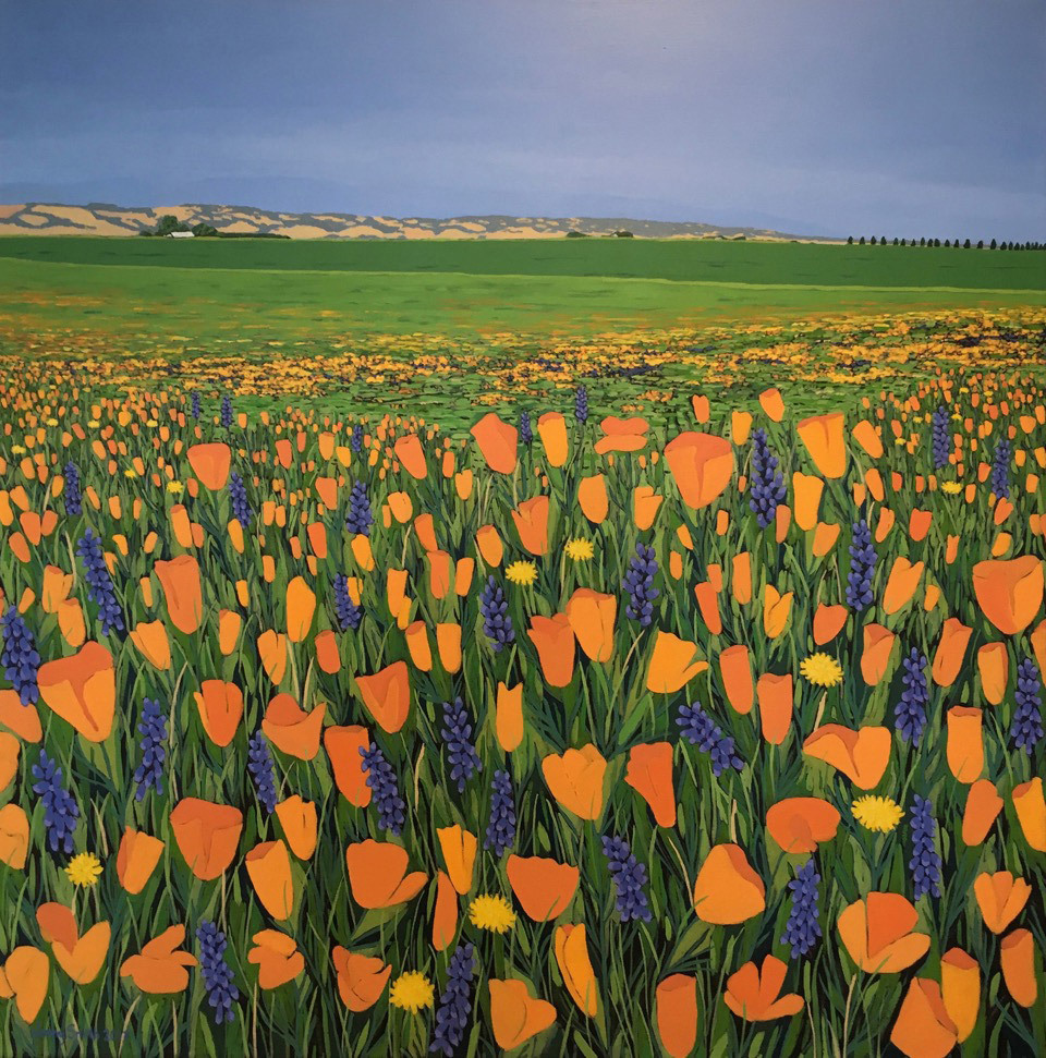 Jenny Smith, Sacramento Valley Poppies, acrylic