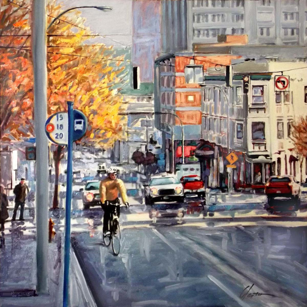 Robert Gleason, Rainy Commute, oil