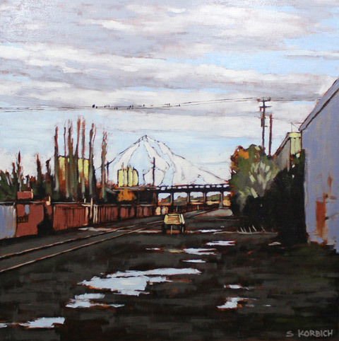 Stephen Korbich, Mount Hood From the Rails, oil