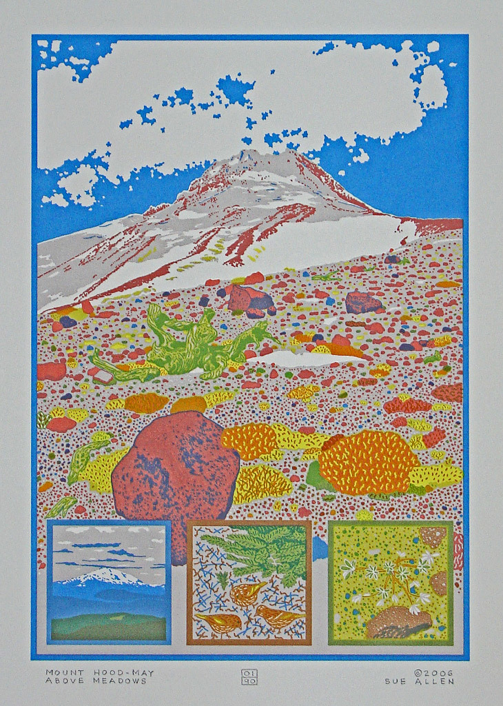 Sue Allen, Mount Hood - May - Above Meadows, screenprint