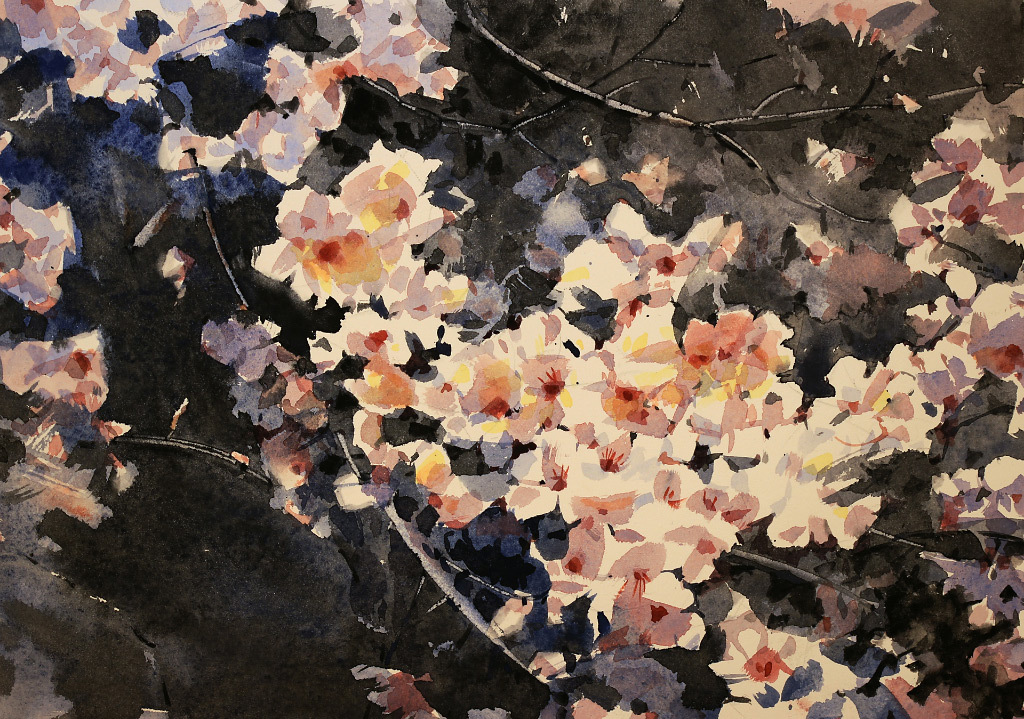 Yong Hong Zhong, Spring Has Arrived, water color