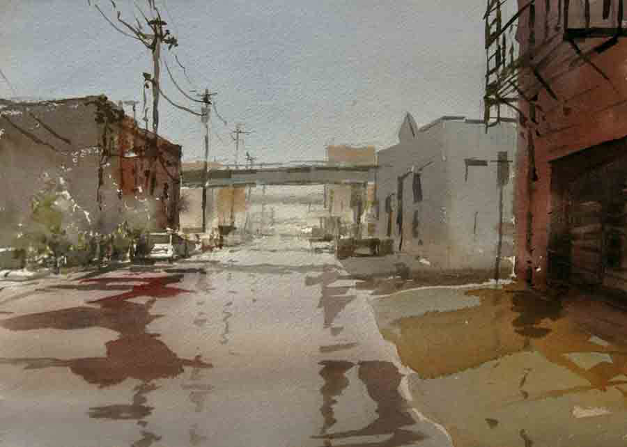 Yong Hong Zhong, Wet and Rainy, water color