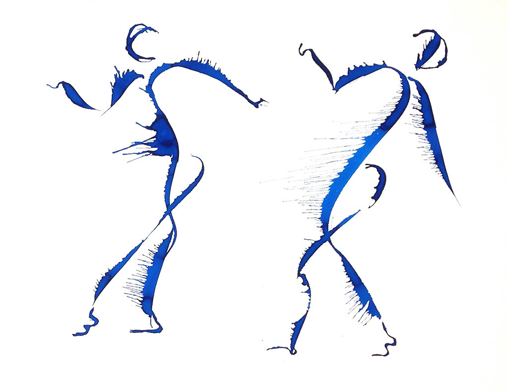 Eileen Kane, Animated Dance, water color and indian ink