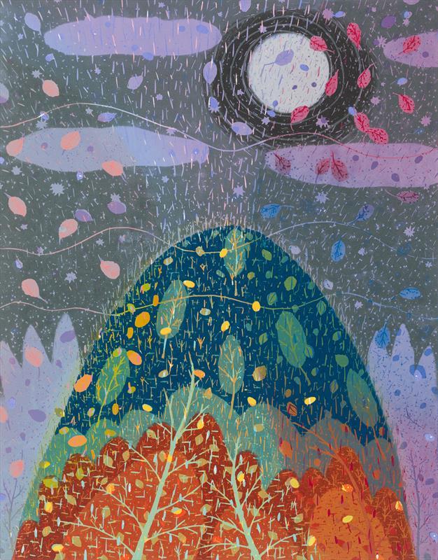 Noriko Sugita, Full Moon, woodcut