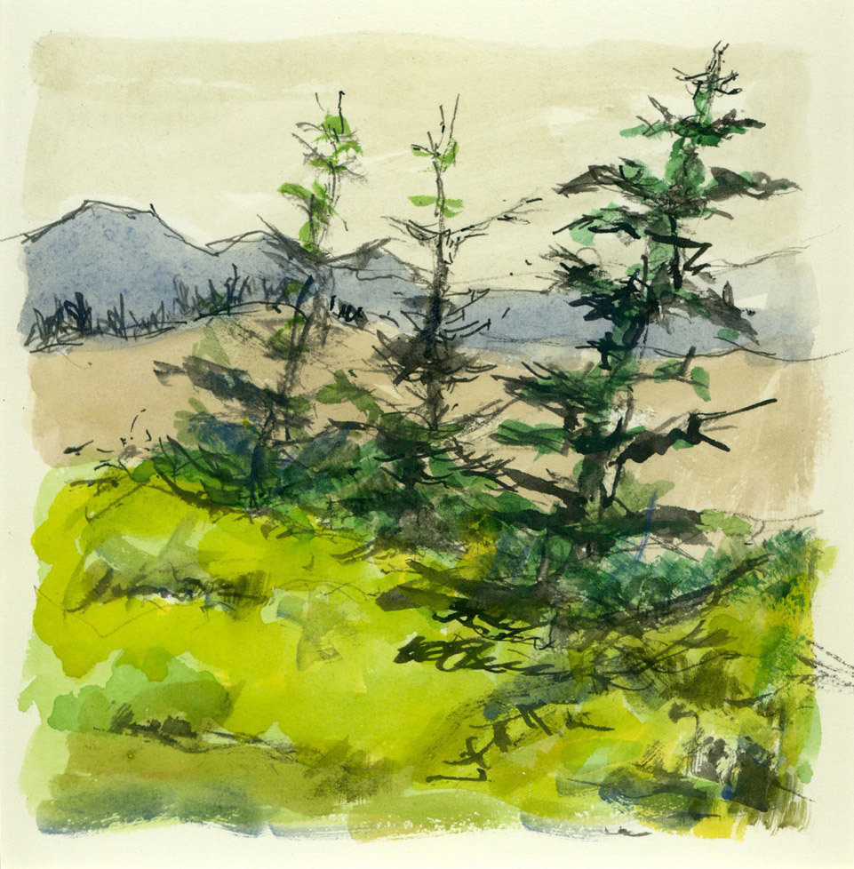 Harry Greaver, Three Trees, water color
