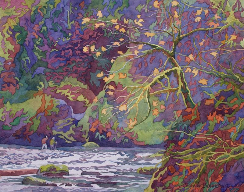 Sarah Bouwsma, Hikers, watercolor