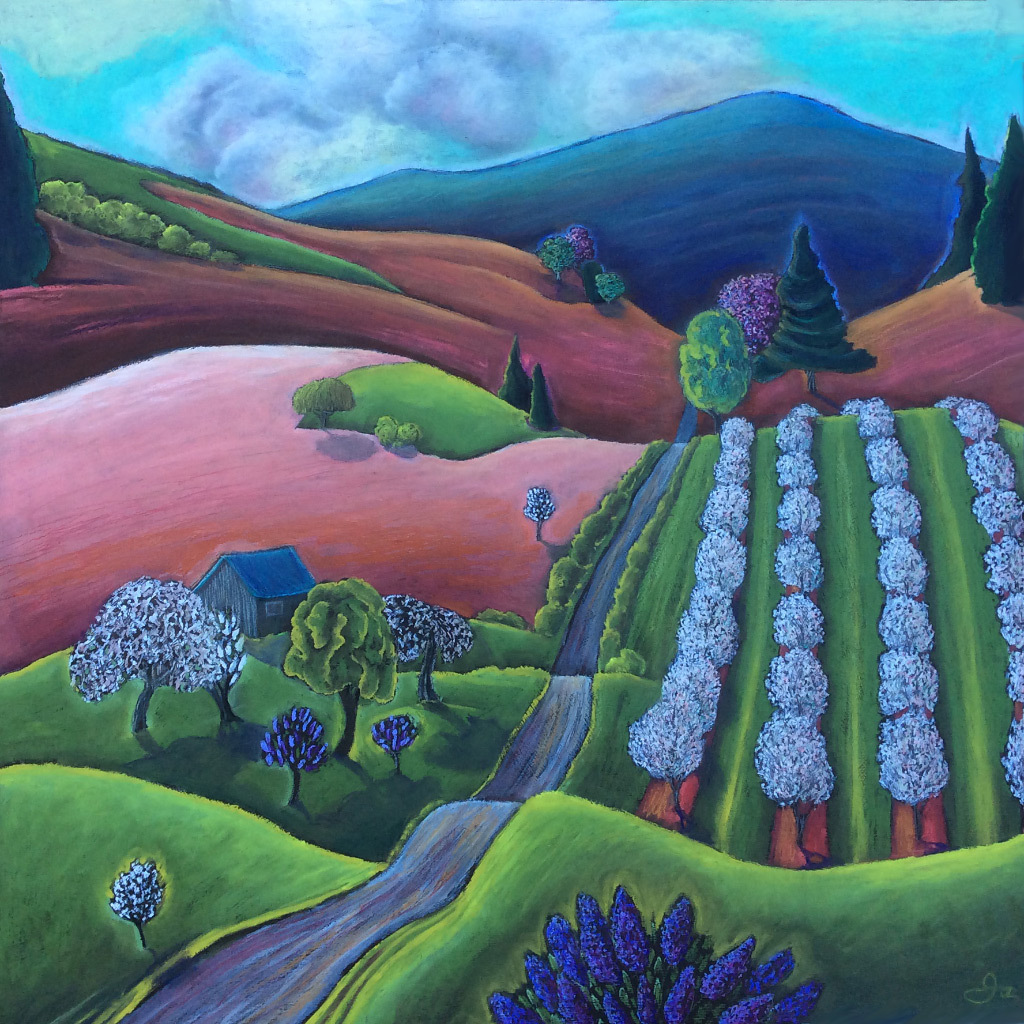 Jane Aukshunas, Spring Orchard, oil pastel