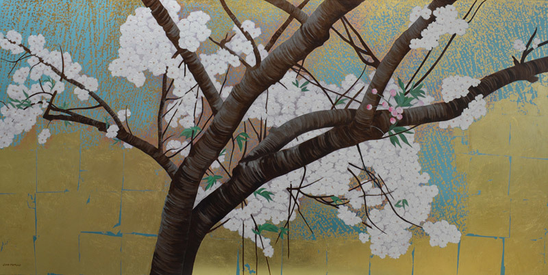 Joan Metcalf, Ornamental Cherry Tree #2, oil and metal leaf