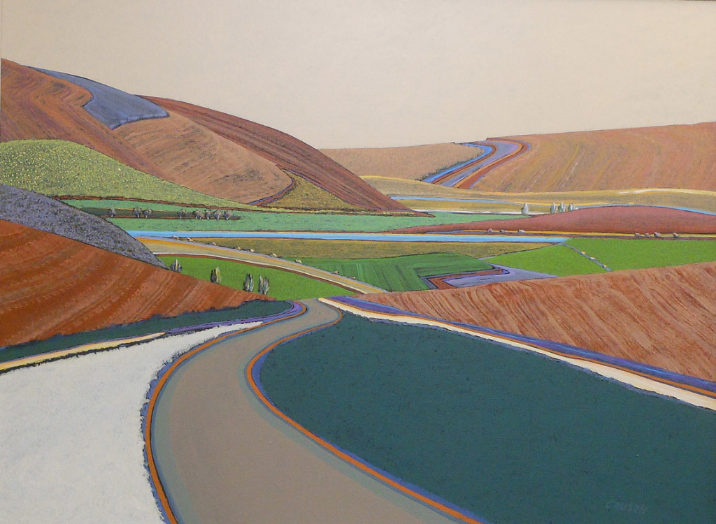 Jon Jay Cruson, Around the Bend Open Fields, acrylic