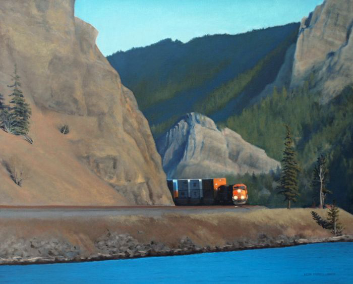 Kevin Farrell, Fast Freight Along The Columbia, oil