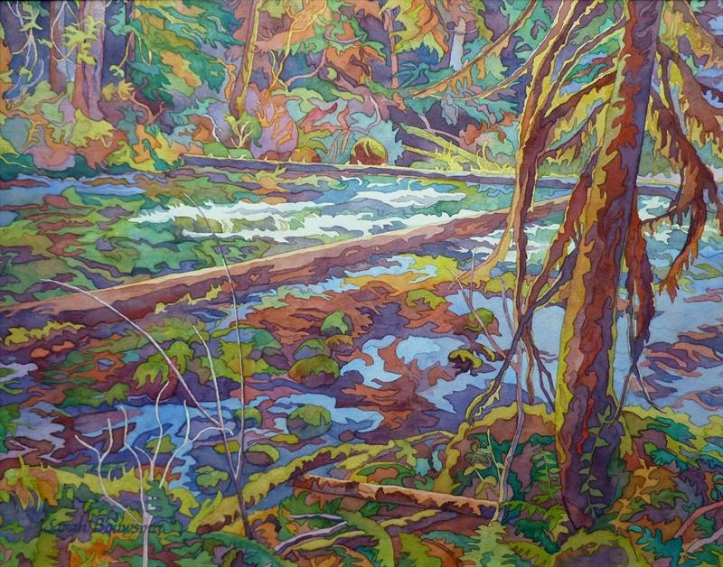 Sarah Bouwsma, McKenzie River, watercolor