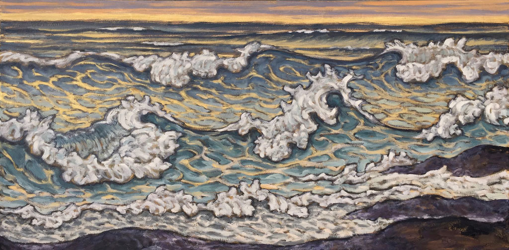 Pamela Greene, Swirling to the Shore, oil on canvas