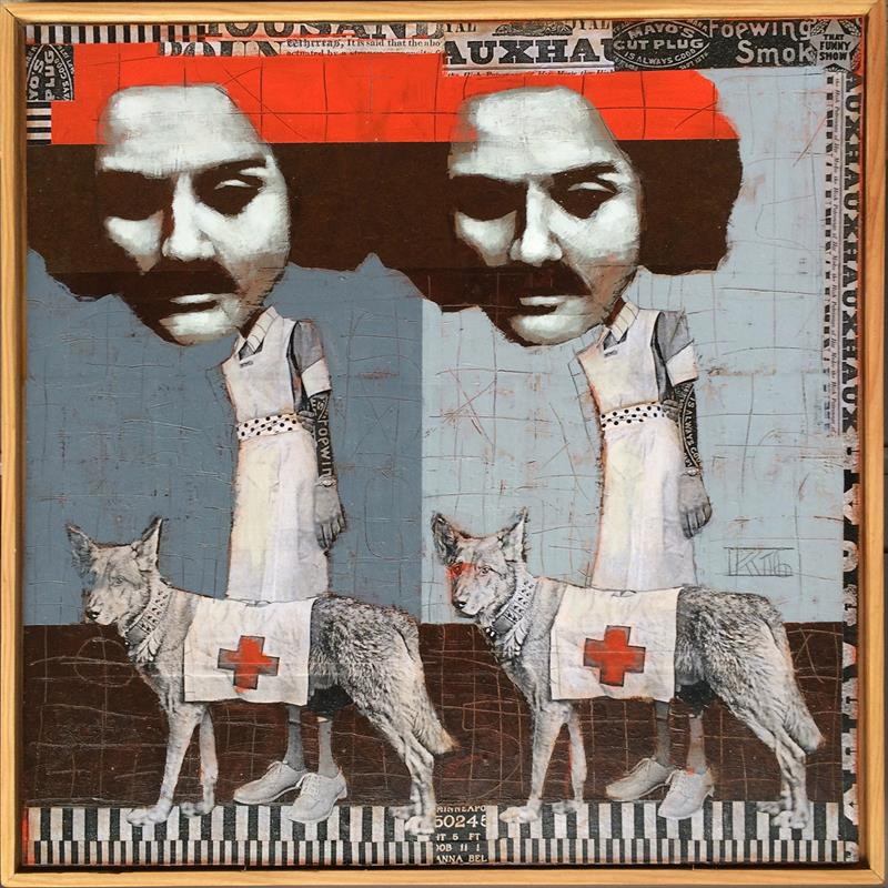 Red Cross Dogs, mixed media