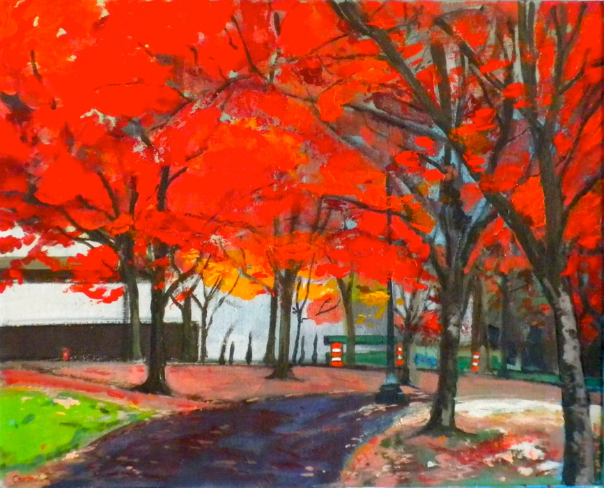 Sidonie Caron, Autumn Bicycle Commute, acrylic on canvas