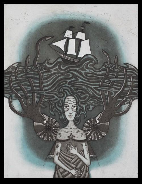 Tara Murino-Brault, Siren, Intaglio